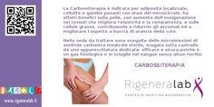 La Carbossiterapia è indicata per adiposità localizzate, cellulite e gambe pesanti con stasi del microcircolo: ha effetti benefici sulla pelle, con aumento dell'ossigenazione nei tessuti che migliora l'elasticità e la compattezza, e sulle cellule grasse, contribuendo a ridurne gli accumuli ed a migliorare l'aspetto a buccia di arancia della cute. http://www.rigeneralab.it