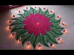 Beautiful Red Flower Rangoli Designs - Colourful Designs for Competition And Festivals - By Maya! - YouTube