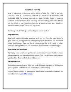 Pipefitter resume examples samples