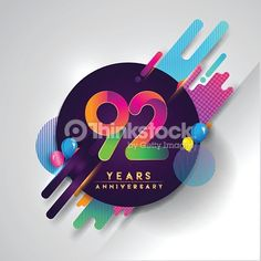 Vector Art : 92nd years Anniversary symbol with colorful abstract background