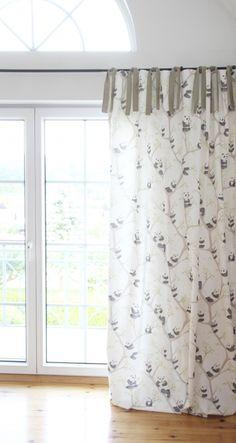 Gardinen vorh nge vorhang punkte rosa wei 140 x 250 cm ein designerst ck von marumaru bei - Fenster gardinen kinderzimmer ...