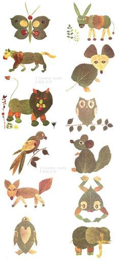 leaves Animals - Fall Crafts For Kids Leaf Crafts, Bird Crafts, Nature Crafts, Fun Crafts, Arts And Crafts, Autumn Crafts, Fall Crafts For Kids, Autumn Art, Diy For Kids