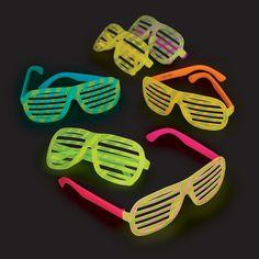 Bright Color Glow-in-the-Dark Shutter Shading Sunglasses - OrientalTrading.com $8.25/dozen