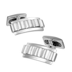 Sterling silver onyx and mother of pearl large oval Cufflinks Tie Clip Box Set