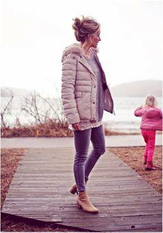 kengät + pitsipaita Winter Skirt Outfit, Winter Outfits For Work, Winter Outfits Women, Sweater Outfits, Skirt Outfits, Cute Outfits, Cute Jackets, Autumn Fashion, Zara