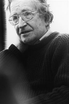 "Avram Noam Chomsky (born December 7, 1928) is an American linguist, philosopher, cognitive scientist, logician,  political commentator and activist. Chomsky is also a major figure in analytic philosophy. He has spent most of his career at the Massachusetts Institute of Technology (MIT), where he is currently Professor Emeritus, and has authored over 100 books. He has been described as a prominent cultural figure, and was voted the ""world's top public intellectual"" in a 2005 poll."