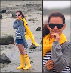 I am just a slave to stripes!  I absolutely love the bright yellow rain boots :)