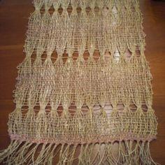 brooks bouquet   Hemp Table Runner: Plain Weave with Brooks Bouquet Tapestry Weaving, Loom Weaving, Lace Weave, Antiquities, Table Runners, Hemp, Fabric Crafts, Bouquet, Knitting