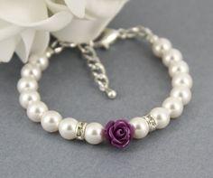 Flower Girl Bracelet, White Pearl and Flower Bracelet, Swarovski Bracelet, Bridal Jewelry, Flower Girl Gifts, Dark Purple Flower Bracelet on Etsy, $13.73
