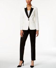 Tahari ASL Colorblocked Pantsuit Wedding Pantsuit, Pantsuits For Women, Suit Separates, Working Woman, Latest Dress, Work Wear, Streetwear Brands, Pants For Women, Luxury Fashion