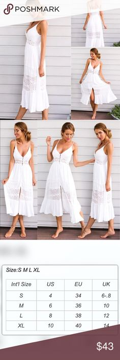 Sz L- XL Vintage Style Boho Maxi Sundress Beautiful and cozy, cool Maxi Dress.  Sleeveless made of Polyester, Acrylic and Lace ( PLEASE SEE SIZE CHART) Dresses Maxi