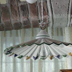 Saliscendi lampadario lampada ceramica decorata rustica country ...