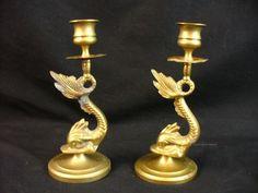 Pair Vintage Brass Dolphin Koi Dragon Fish Candlestick Holders