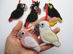 SALE % 5 Australian Cockatoos Felt Ornaments / by curlyfoxShop