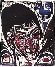 Ernst Ludwig Kirchner, Portrait of Otto Muller, 1915 woodcut