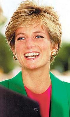 April 28, 1992: Princess Diana at the official opening of Riddings Community Centre on West Street, Riddings, Derbyshire. Also visited Babington Hospital In Derbyshire. The Princess Is wearing a green suit with a pink tip underneath.