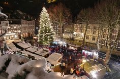 Christmas Market in Monschau, Germany.  Wonderful times enjoying sights, smells, and tastes of the Christmas season in Europe...warm strudel, gluhwein, roasting nuts, crafts, etc.