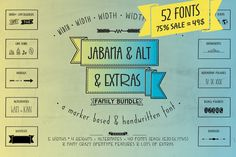 Jabana 75% OFF – 52 Fonts Bundle by Nils Types on Creative Market