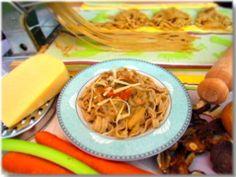 Buckwheat tagliatelle with mushroom sauce