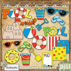 Pool Party Fun 1 - Cheryl Seslar Country Clip Art : Digi Web Studio, Clip Art, Printable Crafts & Digital Scrapbooking!