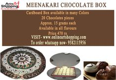 MEENAKARI CHOCOLATE BOX Cardboard Box available in many Colors 20 Chocolates pieces   Approx. 15 grams each  Available in all flavours   Price 470 rs  VISIT- www.onlineartshopping.com To order whatsapp now- 9582115956
