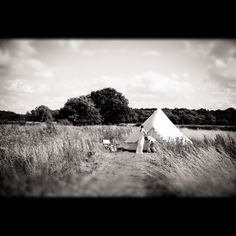 The Bride and her wedding tent. Glamping
