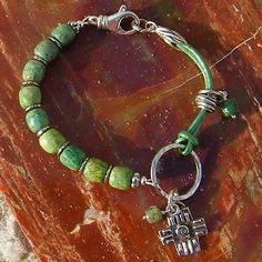 Leather and Bead Bracelet with charm