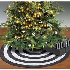 black white tree skirt 46in party city