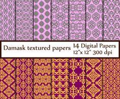 """Damask Digital Paper: """"DAMASK PAPER"""" Damask Background Paper Damask Printables Damask Textures Vintage Damask Wallpaper instant download"""