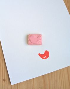 Little bird handcarved rubber stamp by DesignQueue on Etsy, $4.00