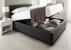 Serenity Upholstered Ottoman Storage Bed - New Grey & Serenity Upholstered Ottoman Storage Bed - Steel Grey - Ottoman Beds ...