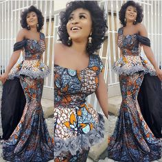 either off shoulder or cap sleeve, not one of each and the color would be diff, but this is beautiful! New latest ankara styles 2017 ankara fashion ankara dress ankara tops jumpsuits asoebi styles nigeria owambe tailor Latest Ankara Styles, Kente Styles, Aso Ebi Styles, African Print Dresses, African Fashion Dresses, African Dress, Ankara Fashion, African Outfits, Fashion Skirts