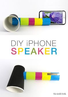 Create a DIY iPhone speaker from a cardboard tube and paper cup. This is a fun STEM craft for kids to learn about how sound can be amplified. Stem For Kids, Science For Kids, Diy For Kids, Sound Science, Science Labs, Kids Learning Activities, Science Activities, Steam Activities, Spring Activities