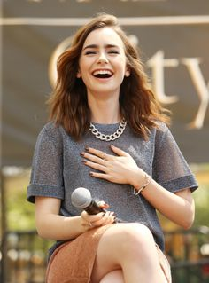 Effortless, necklace makes this outfit perfection. lily collins