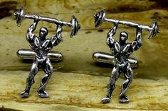 WEIGHTLIFTER Cufflinks In Solid Sterling Silver Free by oldtrekkie