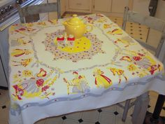 Vintage Tablecloth Southern Belle in a Colonial by unclebunkstrunk