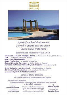 6 Giugno 2013 Apéritif au bord de la piscine Grand Hotel Villa Igea Palermo