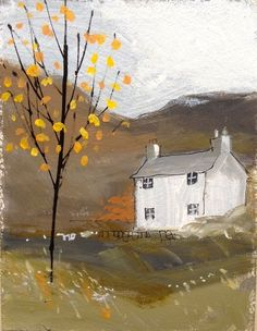 Original Signed Acrylic Painting -Autumn Cottage- by Annabel Burton
