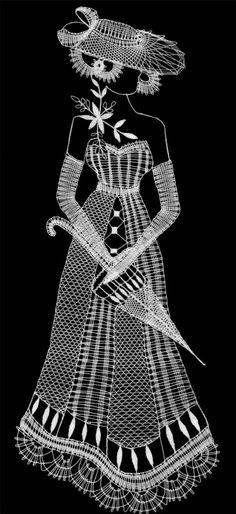 Dáma s deštníkem - fotoalba uživatelů - Dáma. Bobbin Lace Patterns, Crochet Patterns, Paper Embroidery, Embroidery Designs, Romanian Lace, Bobbin Lacemaking, Lace Art, Parchment Craft, Point Lace