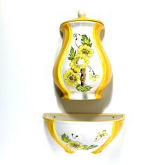 Vintage Wall Fountain with Yellow Flower Design, Ceramic Lavabo Country Decor Indoor Fountain
