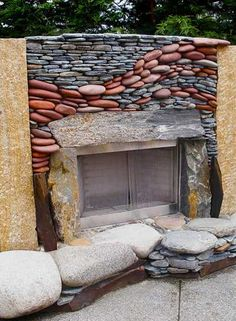 build a kitchen fireplace | ... kitchen and entertainment area, it includes a convenient gas-fueled WOW  mixed rocks