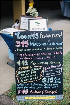 bright order of events chalkboard sign