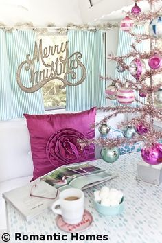 beautiful vintage trailer on romantic homes website today! Shabby Chic Christmas, Pink Christmas, Christmas Colors, Vintage Christmas, Christmas Holidays, Christmas Crafts, Christmas Displays, Christmas Bells, Happy Holidays