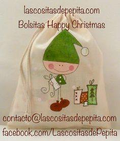 Las cositas de Pepita: Bolsitas Guarda Tesoros para el Árbol de Navidad Cute Bags, Cute Designs, Boy Outfits, Party Time, Doodles, Christmas Decorations, Presents, Xmas, Diy Crafts
