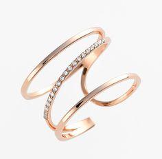 Women's kismet by milka 'Lumiere' Diamond Open Ring - Rose Gold Gold Diamond Rings, Diamond Jewelry, Gold Jewelry, Jewelry Box, Jewelry Rings, Jewelry Accessories, Jewelry Design, Jewelry Stores, Men's Jewellery