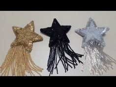⭐ This openwork star out of beads. Bead Embroidery Tutorial, Hand Embroidery Videos, Embroidery Works, Couture Embroidery, Bead Embroidery Jewelry, Textile Jewelry, Bead Jewellery, Beaded Embroidery, Beaded Jewelry