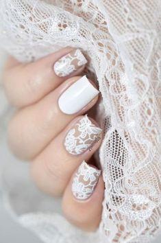 Elegant Lace Nail Art Designs Today I am showing you some nail art pens. Lace Nail Design, Lace Nail Art, Wedding Nails Design, White Nail Art, Nail Art Diy, Lace Art, Wedding Designs, Vintage Wedding Nails, Wedding Manicure