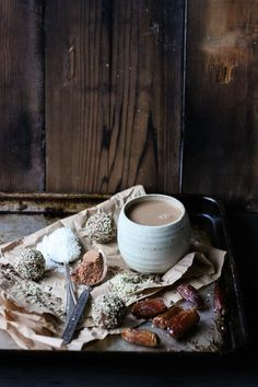 hot cacao with cinnamon, coconut and dates.