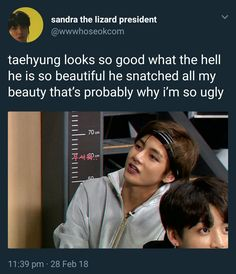 """He snatched all my beauty"" lol XD V Taehyung, Namjoon, Kim Taehyung Funny, Bts Memes, Daegu, Bts Love, Bts Tweet, Kookie Bts, About Bts"