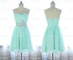 Custom Made Green A line Short Prom Dresses Strapless by MsClothes, $136.99